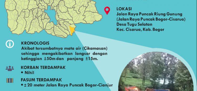 Infografis Kejadian Tanah Longsor Jalur Puncak, Gunung Mas, Kabupaten Bogor. Senin 11 Januari 2021